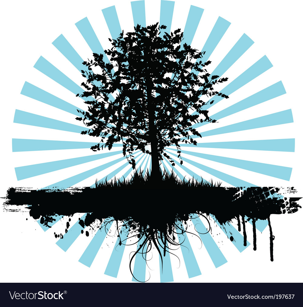 Grunge tree logo vector