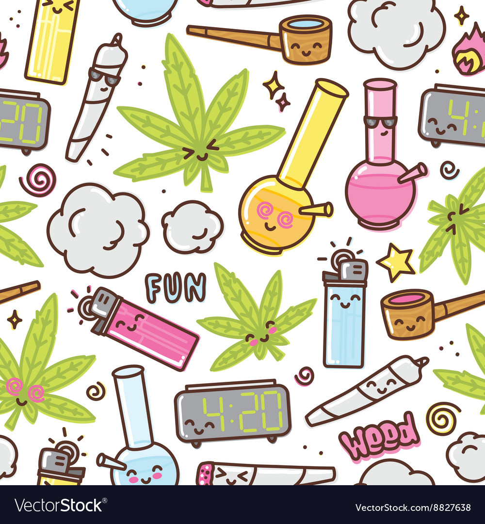 Marijuana kawaii cartoon seamless pattern vector