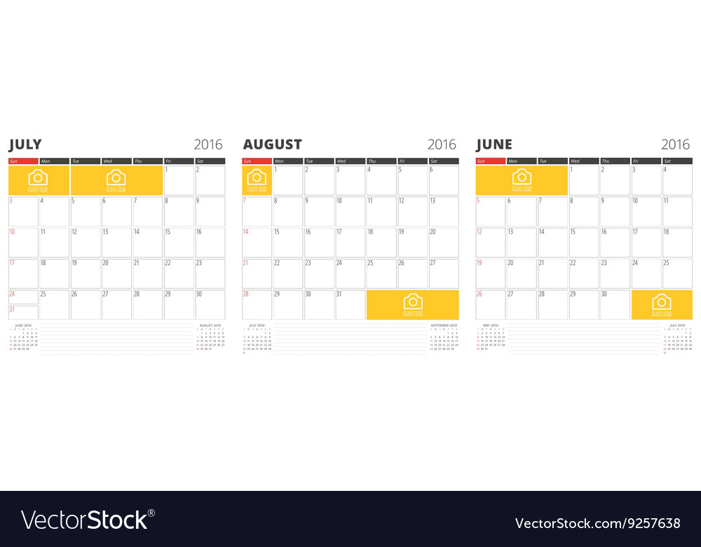 Set of calendar templates for june july august vector