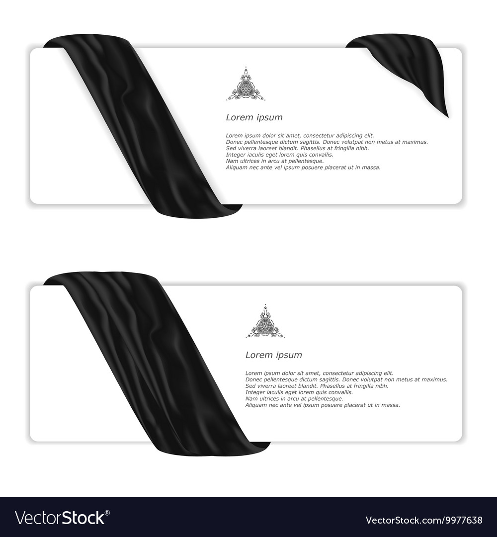Two elegant horizontal white banner with black vector