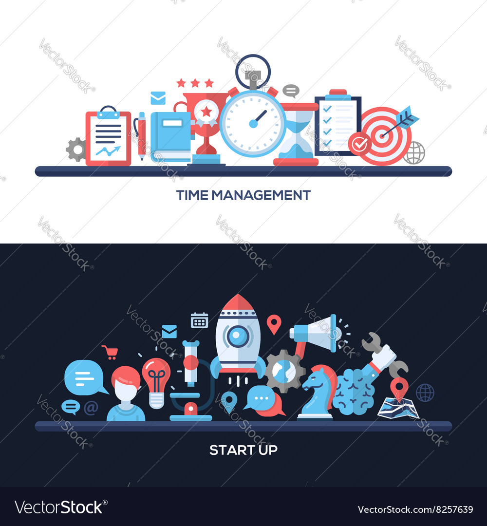 Time management start up flat design concept vector