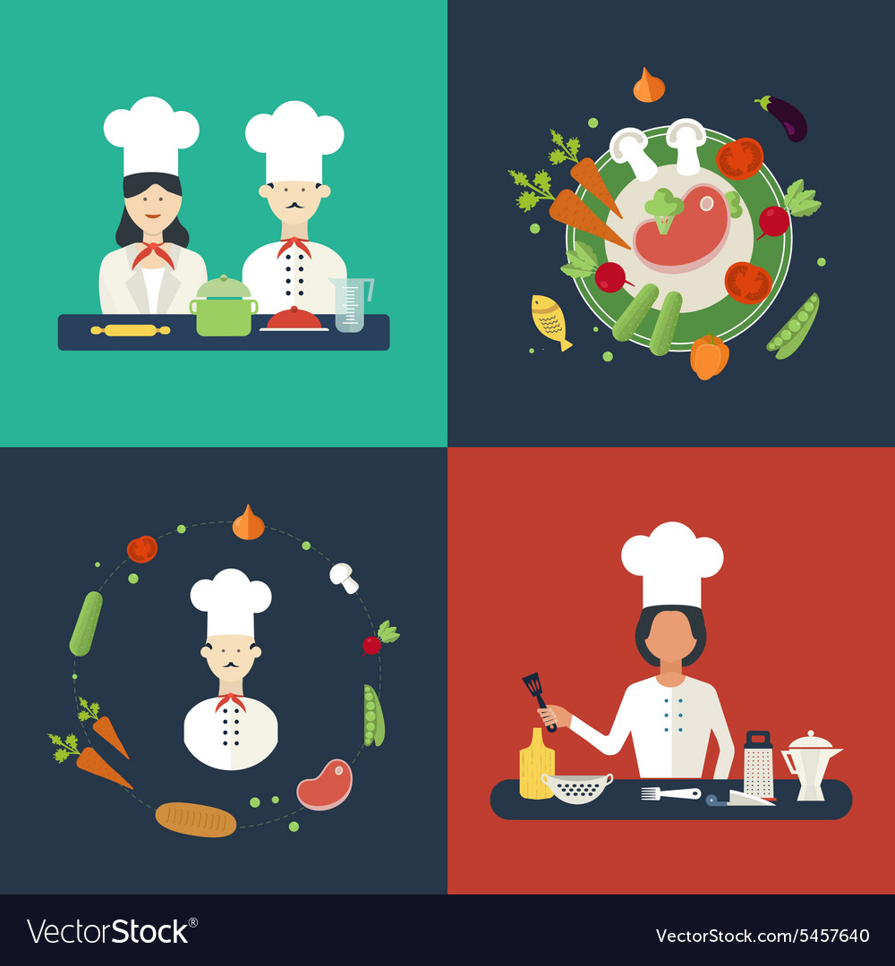 Flat design concept icons of kitchen utensils with vector
