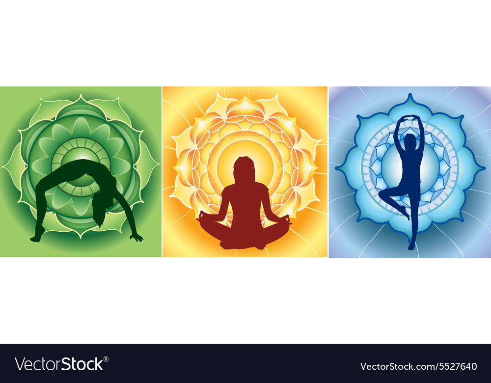 Silhouette of yoga girls on bright mandala vector