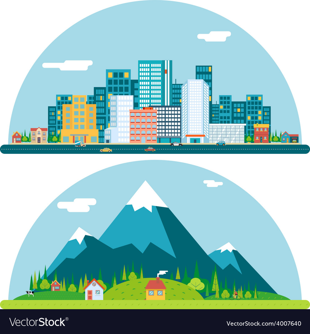 Spring urban and countryside landscape city vector