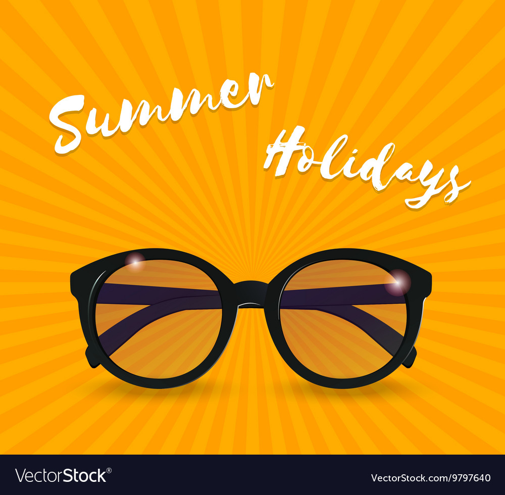 Sunglasses realistic icon summer background vector