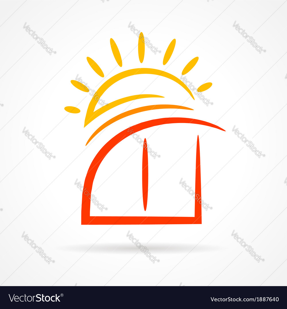 Window emblem sun symbol element icon vector