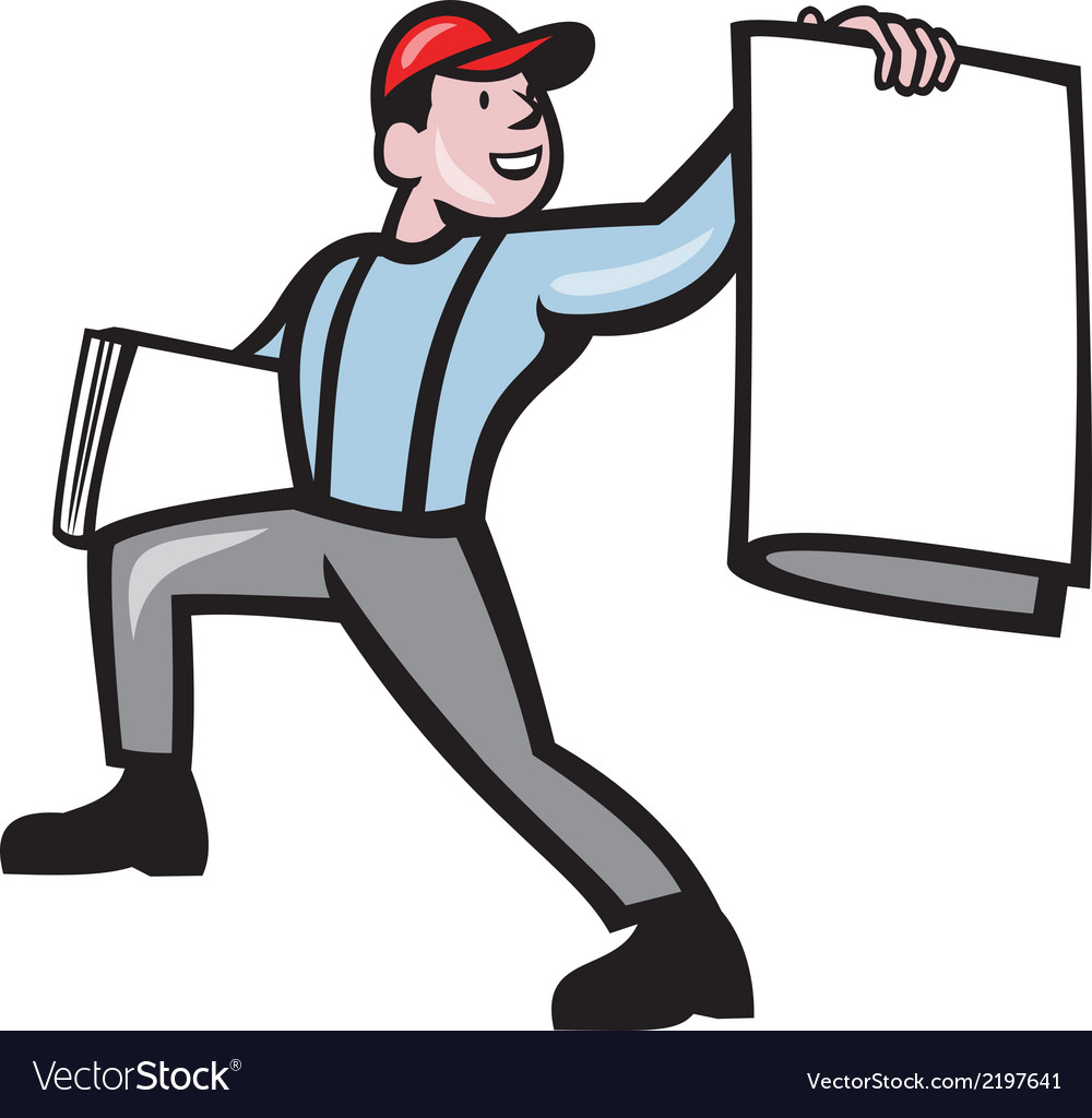 Newsboy selling newspaper isolated full cartoon vector