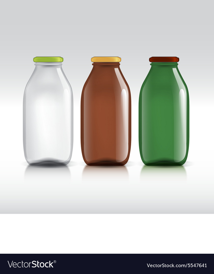 Realistic bottles of glass package for milk vector