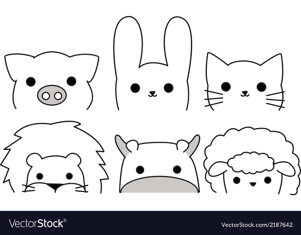 Outline animals vector