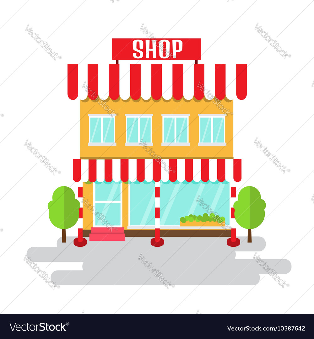 Shop of flat style building vector