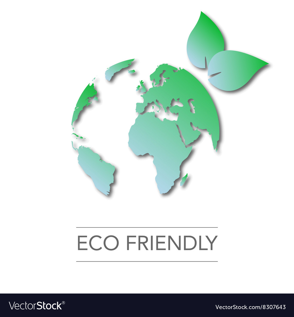 Earth day world globe map green leaves vector