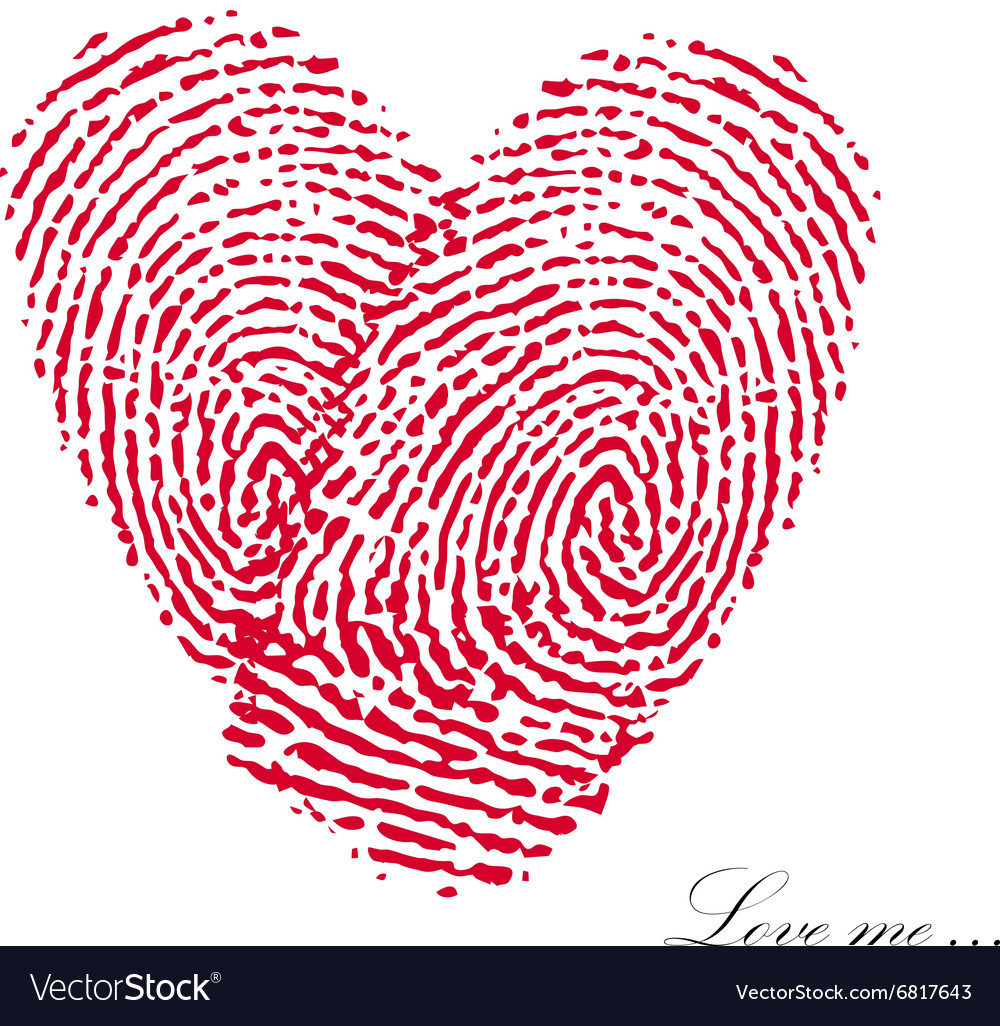 Pink fingerprint with heart on a white background vector