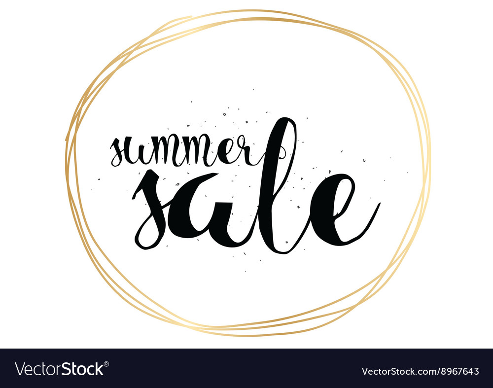 Summer sale hand drawn calligraphy for banner vector