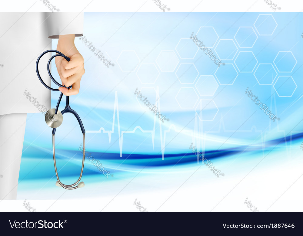 Medical background with hand holding a stethoscope vector