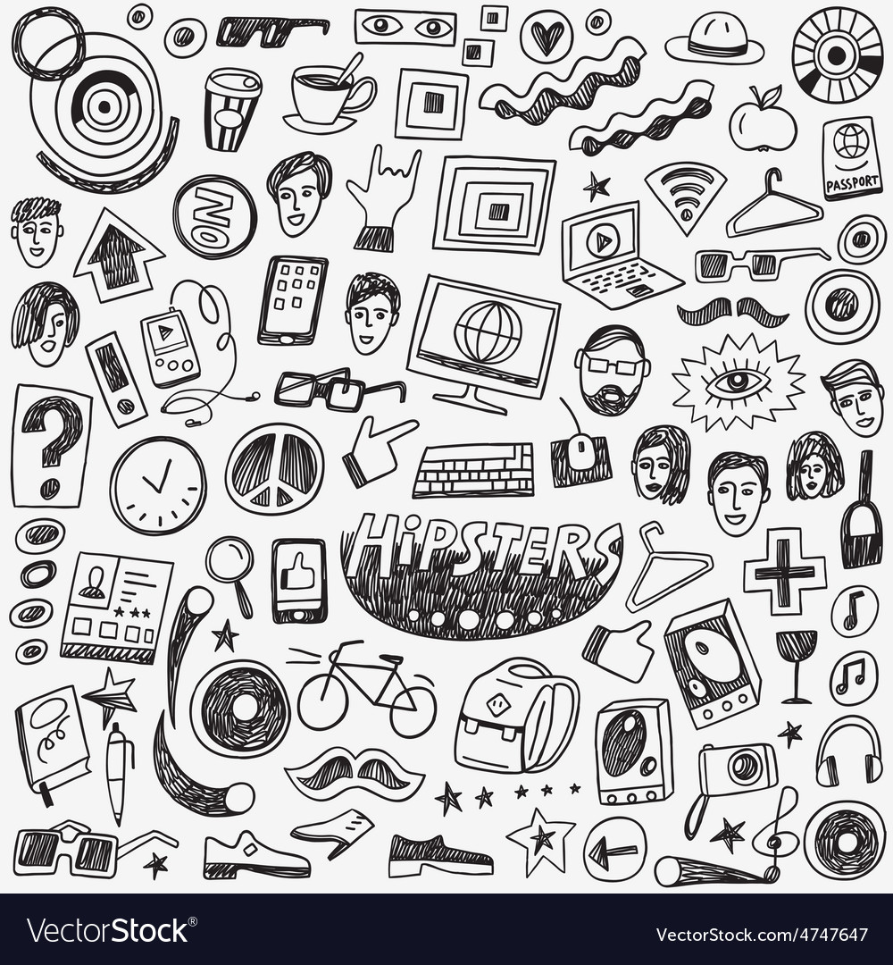 Hipsters doodles set vector