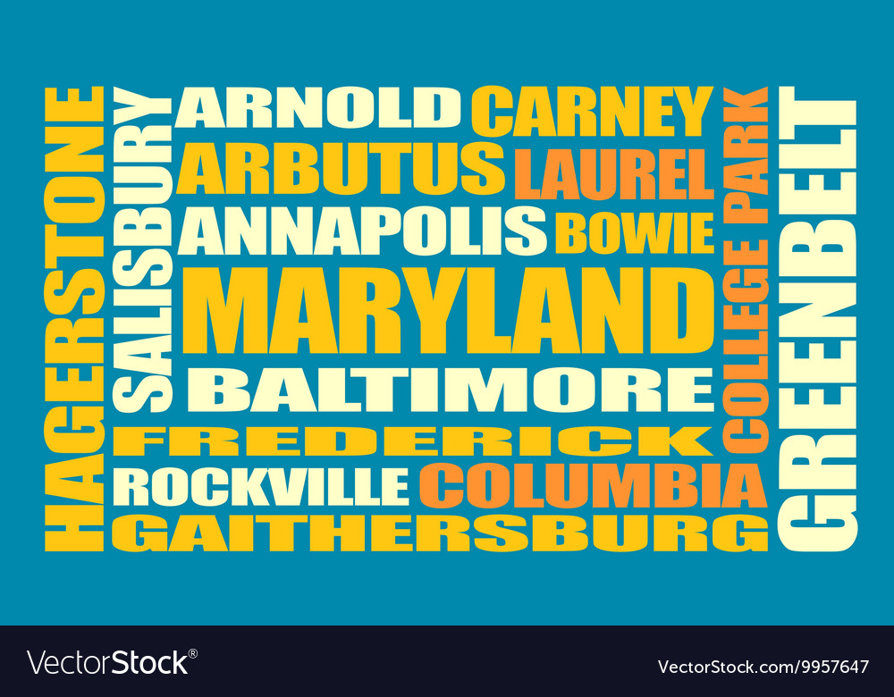 Maryland state cities list vector