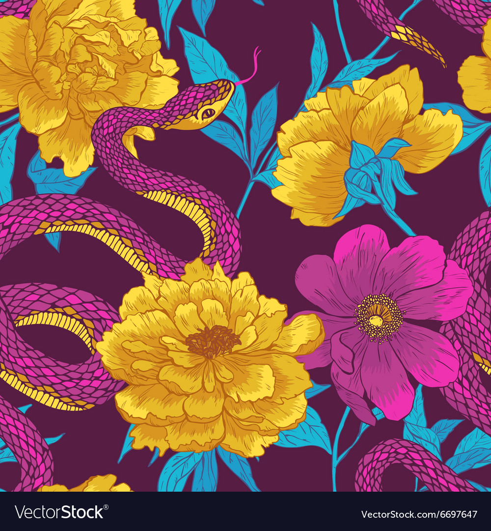 Pattern with snake and flowers vector