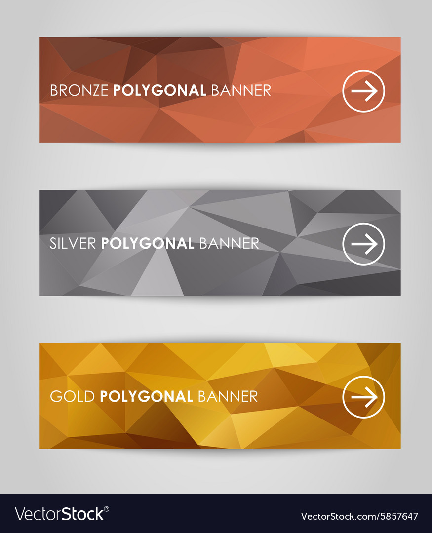 Set of geometric polygonal banner vector
