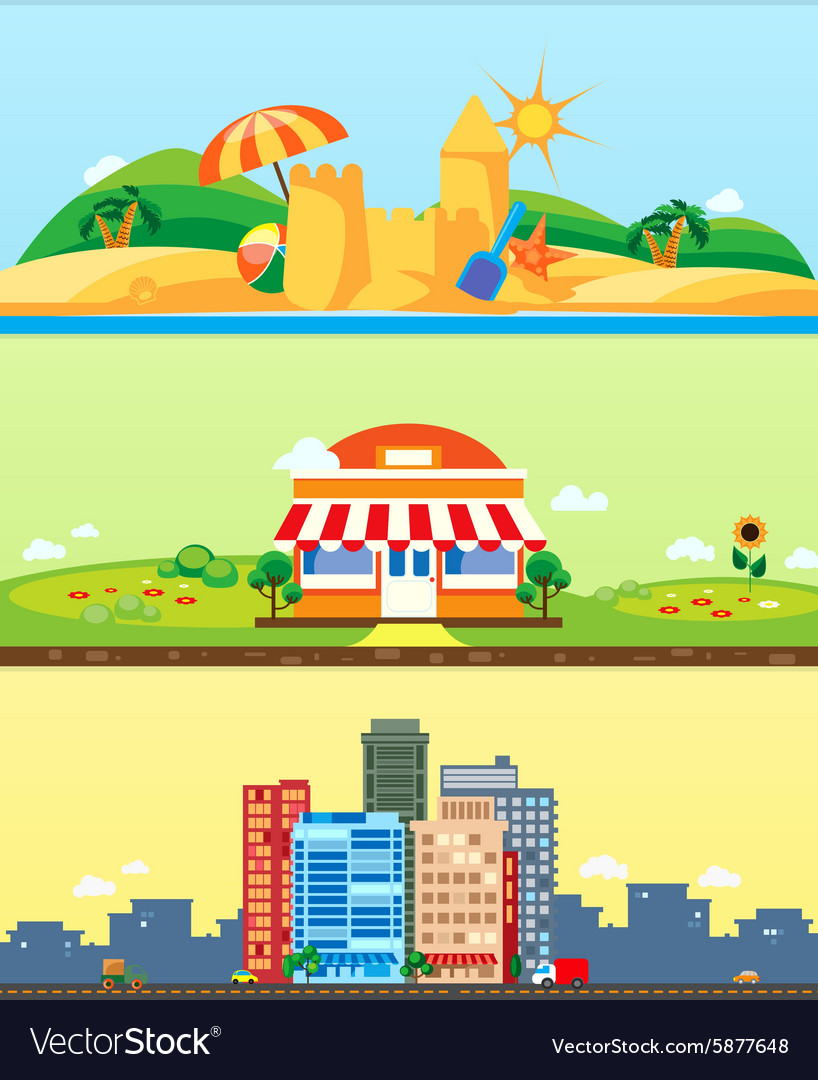 City market beach backgrounds flat design vector