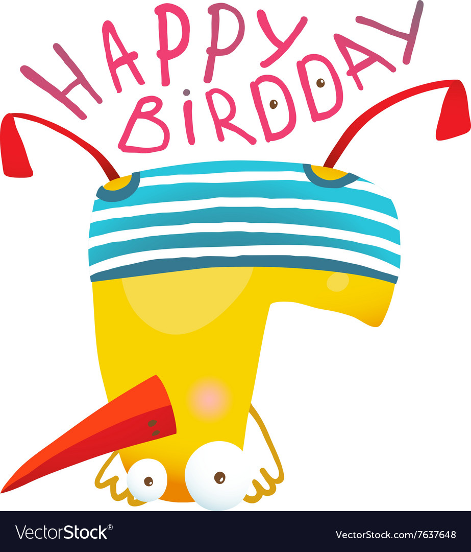 Kids duck playing birthday greeting card design vector