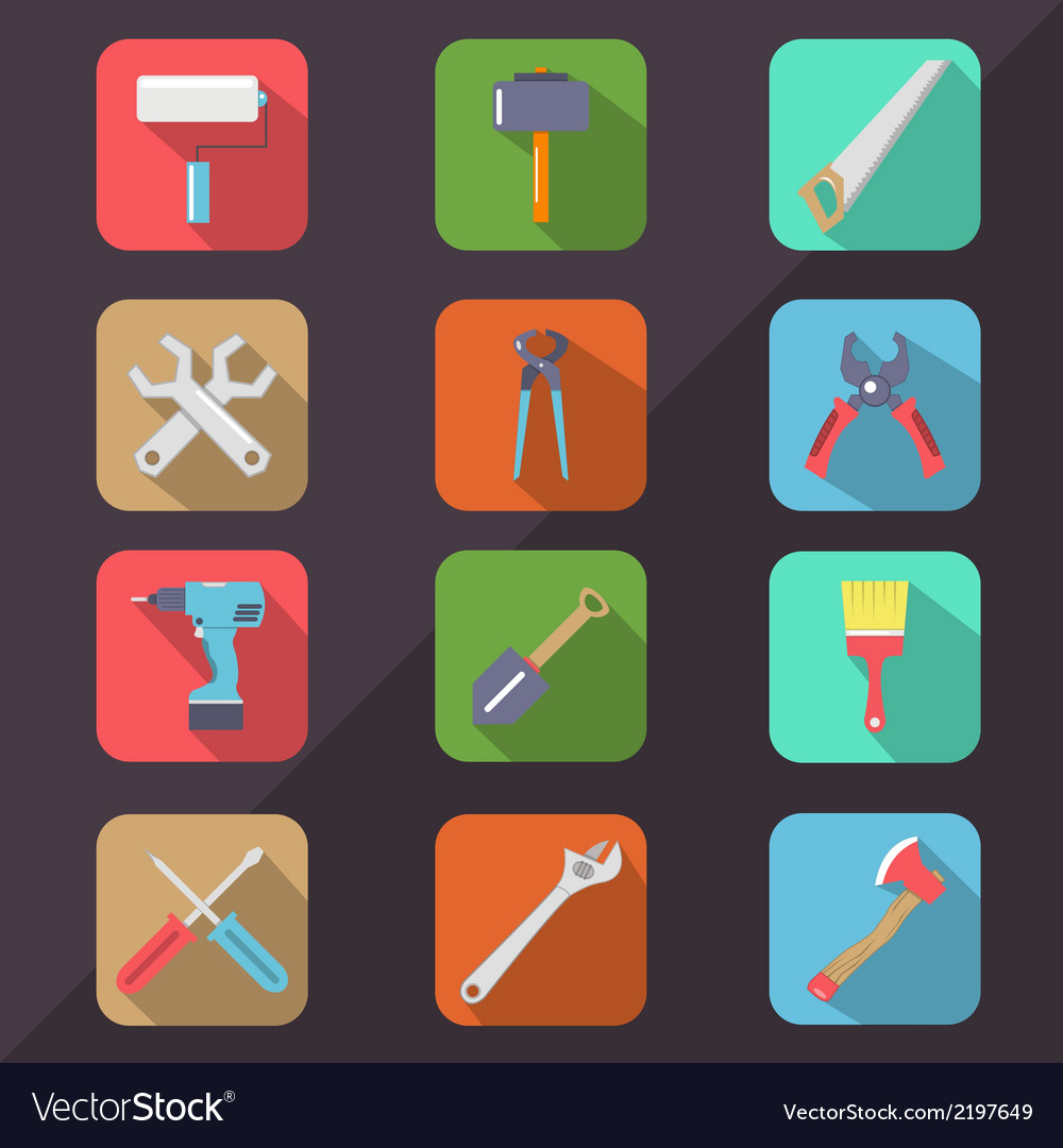 Hardware tools flat icon long shadow vector