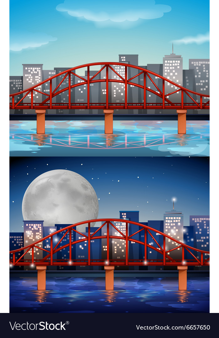 City view with bridge at day and night vector
