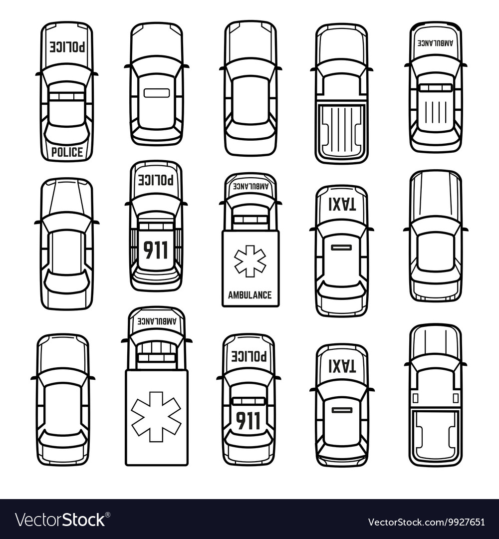 Cars top view thin line icons vector