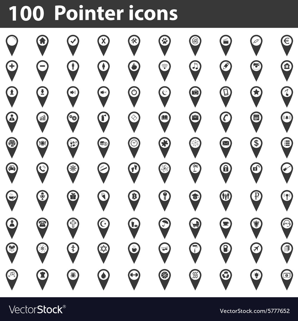 100 pointer icons set vector
