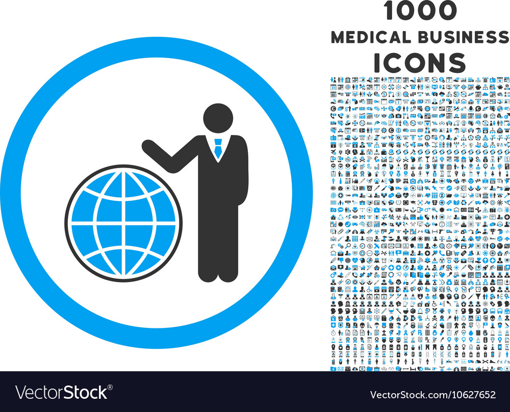 Global manager rounded icon with 1000 bonus icons vector