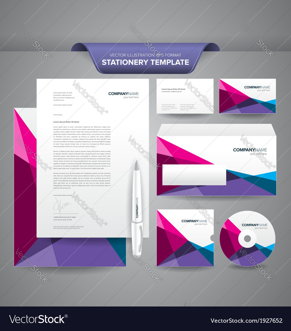 Stationery template polygonal vector