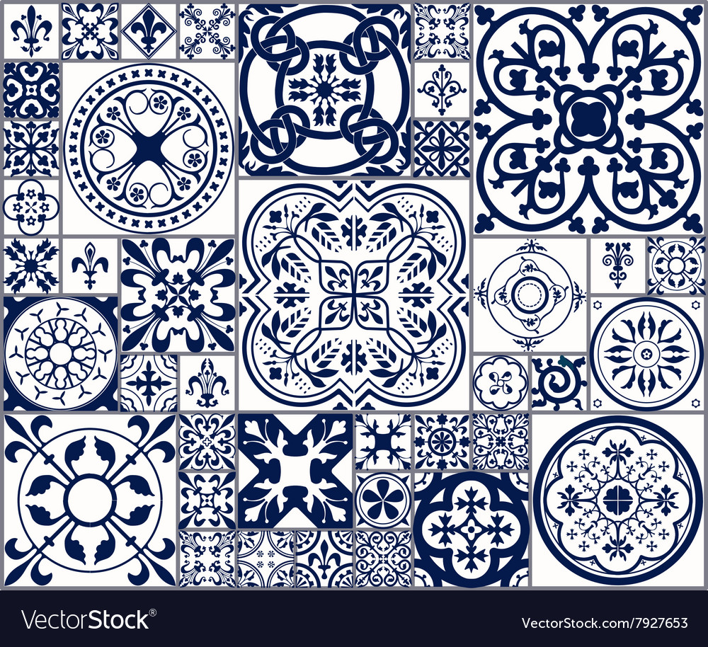 Moroccan tiles seamless pattern a vector