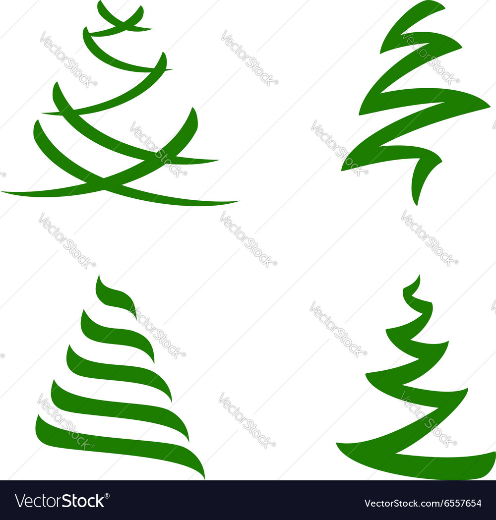 Stylized christmas trees set vector