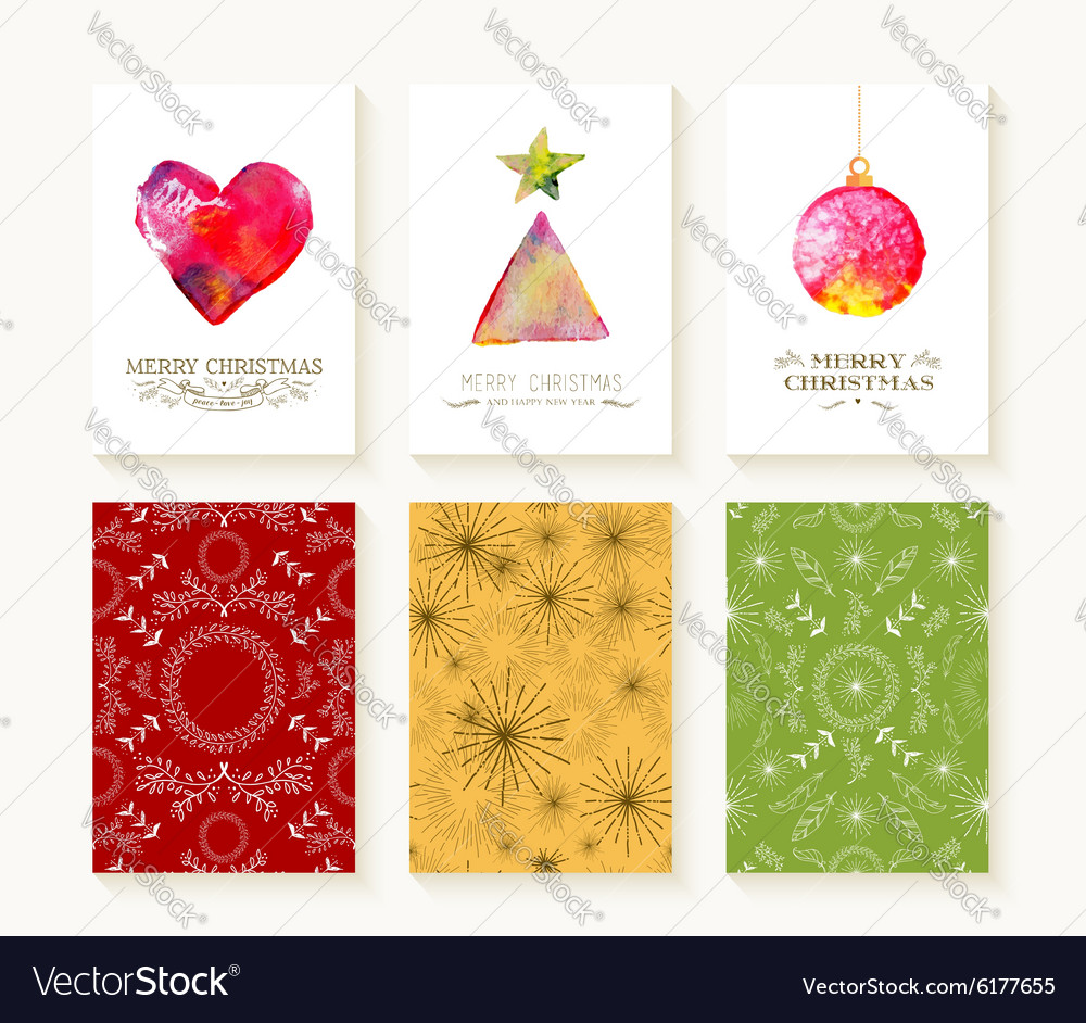 Merry christmas set pattern ornament greeting card vector