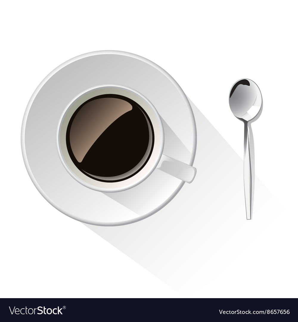 Cup of coffee and spoon vector