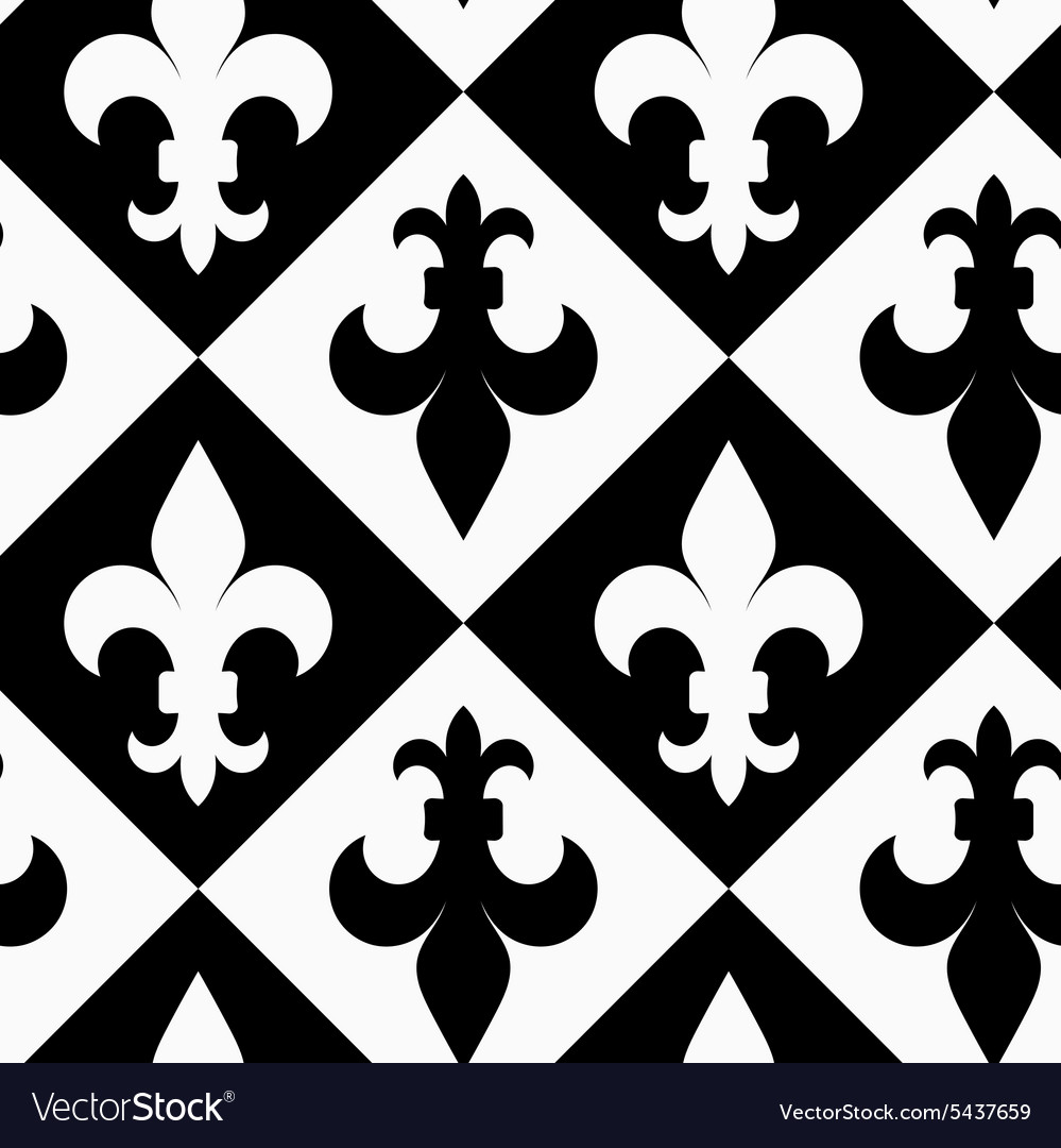 Black and white alternating fleurdelis up and vector