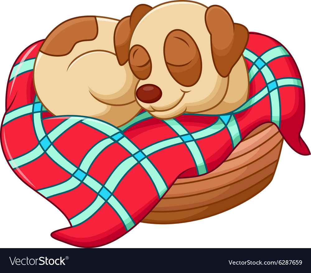Cute dog cartoon sleeping vector