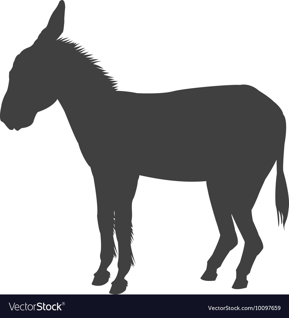 Donkey silhouette icon vector