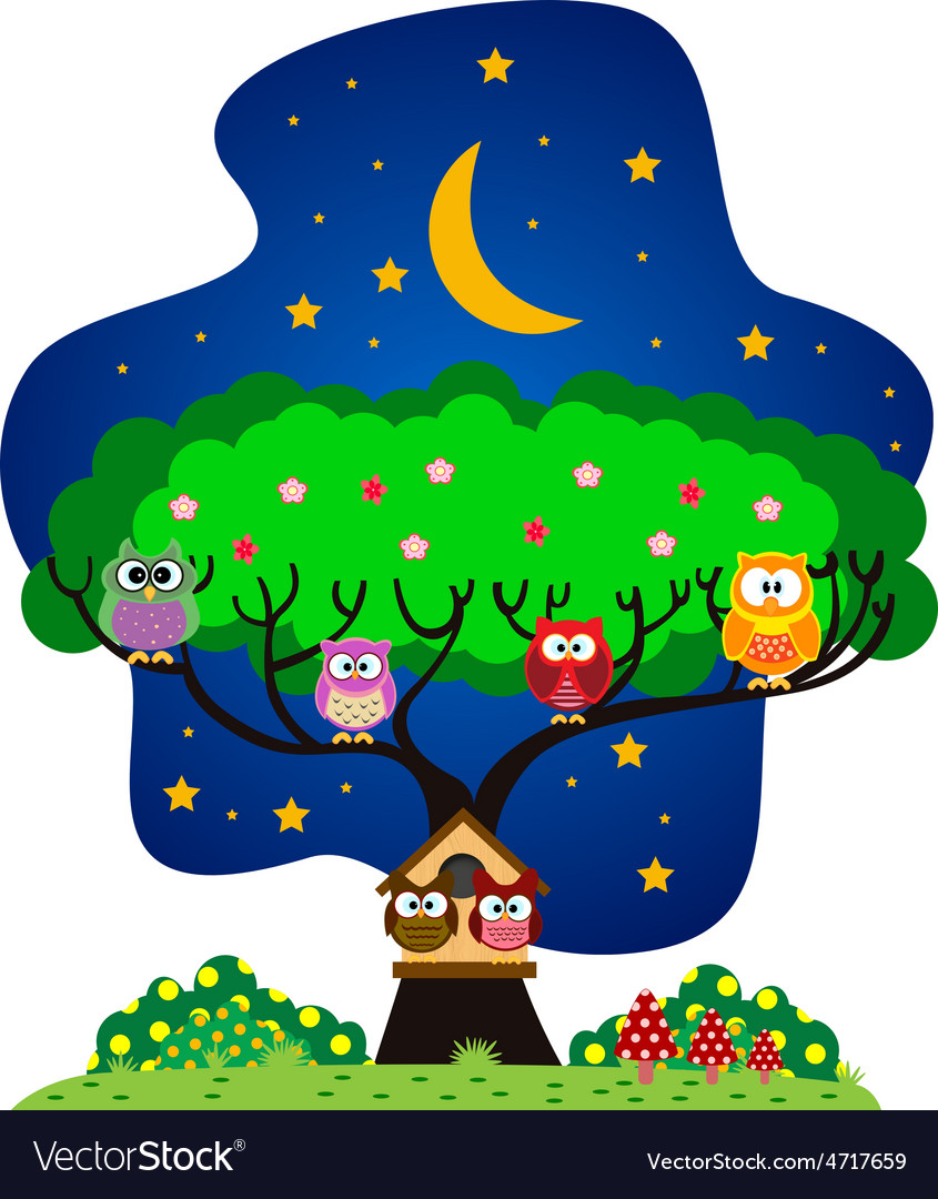 Owls family in the park at night vector