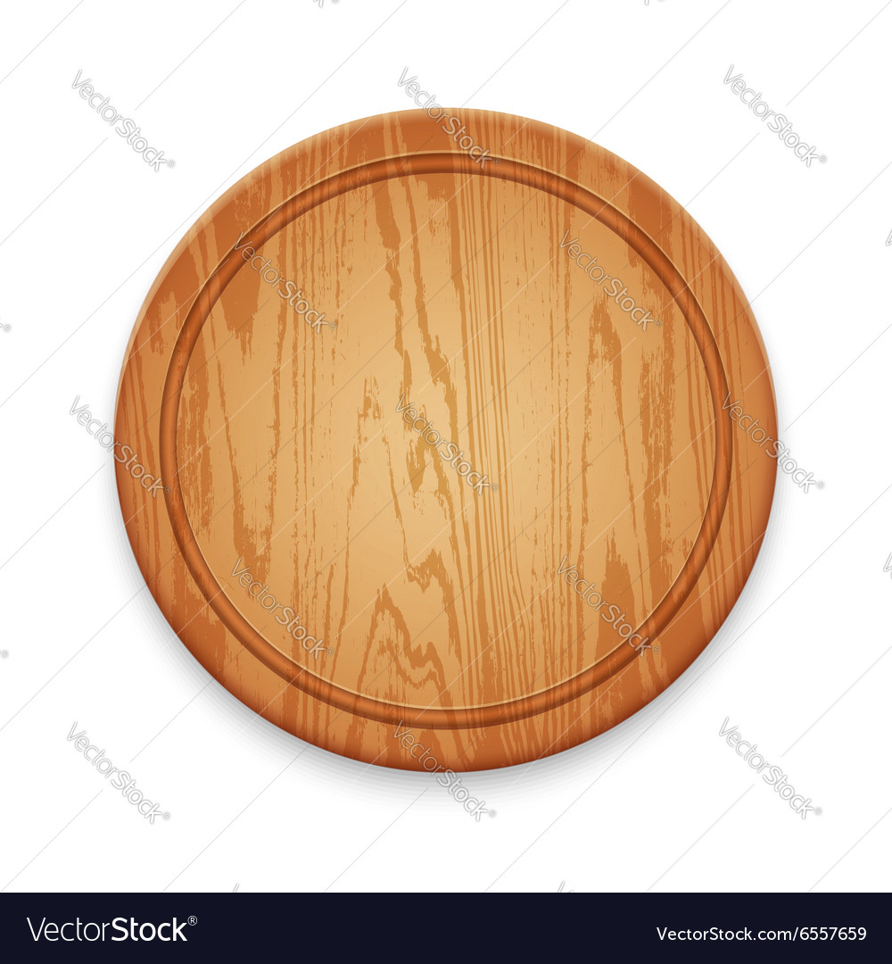 Wooden round cutting board on white background vector