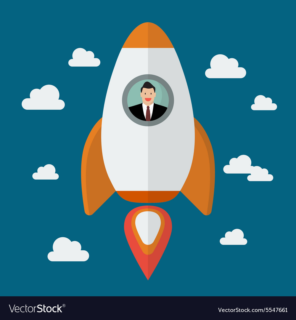 Businessman on a rocket vector