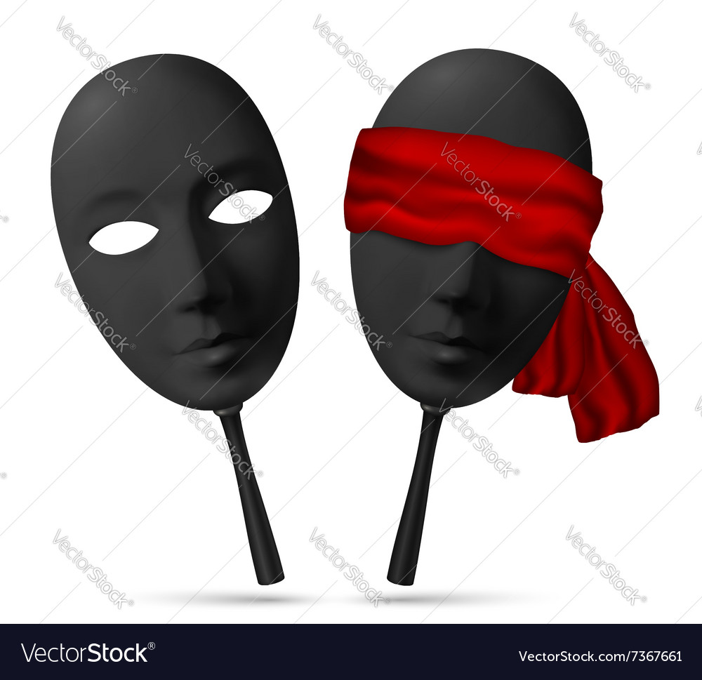 Two black masks with open and blindfolded eyes vector