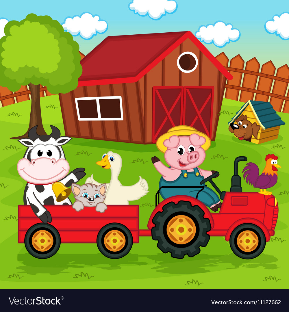 Farm animals ride on tractor in yard vector