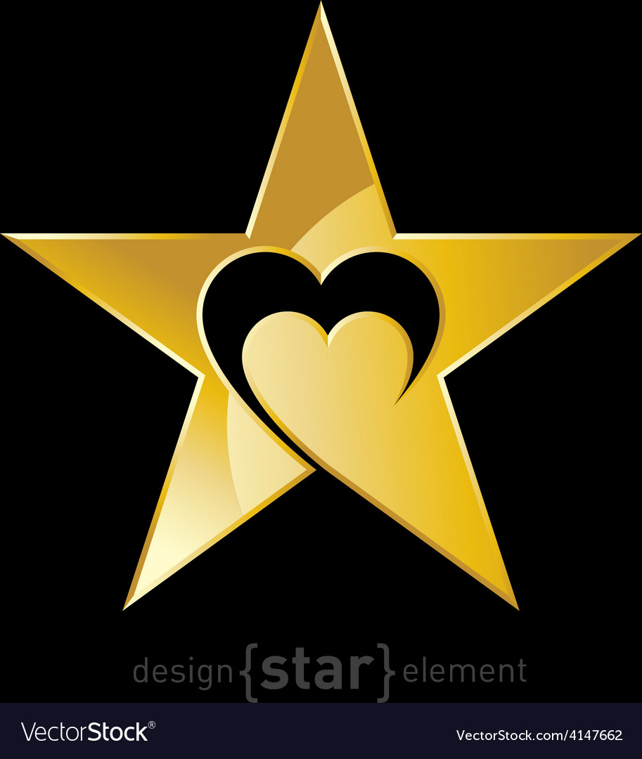 Gold original star with heart vector