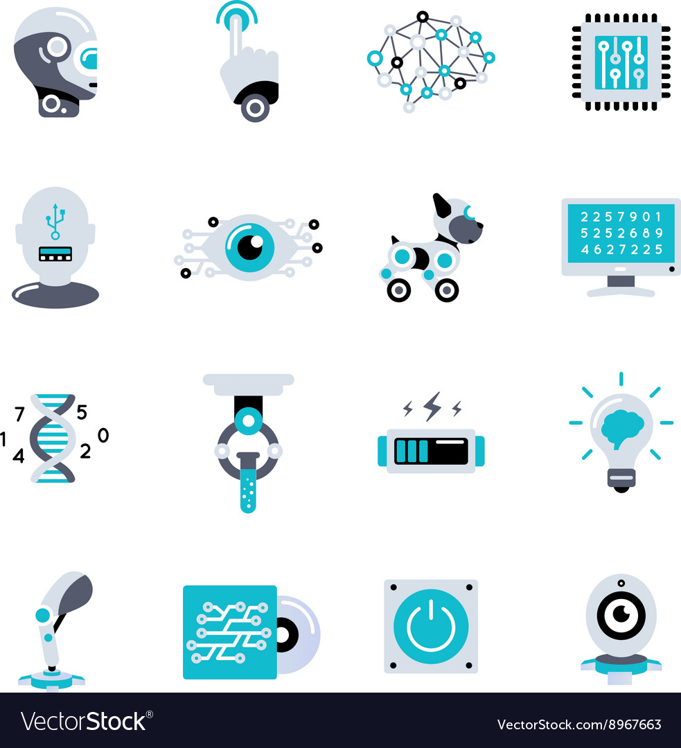 Artificial intelligence flat icon set vector