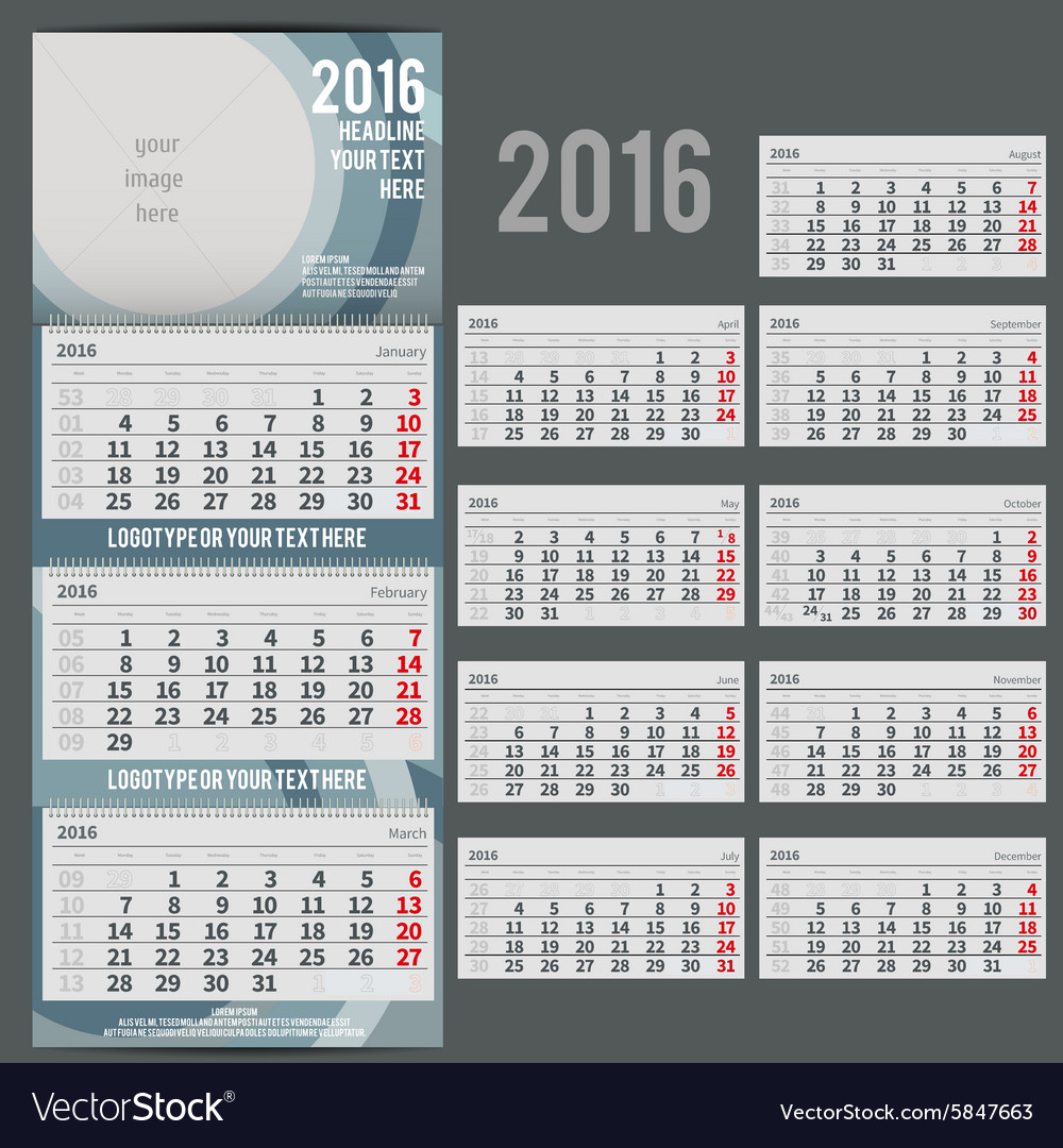 Calendar 2016  planner for three month vector