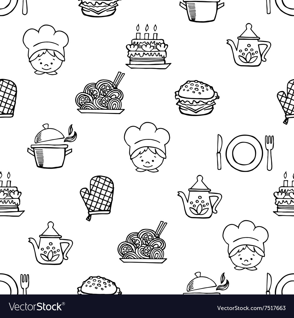 Food white and black seamless pattern vector