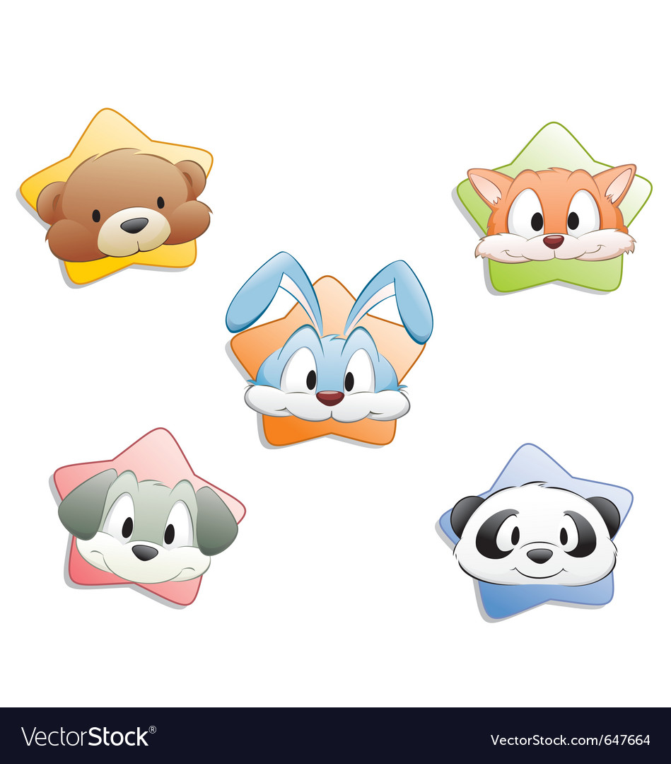 Cute cartoon animal faces vector