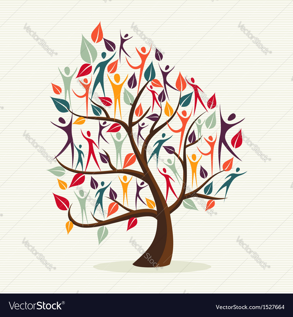 Family with colorful leaves vector