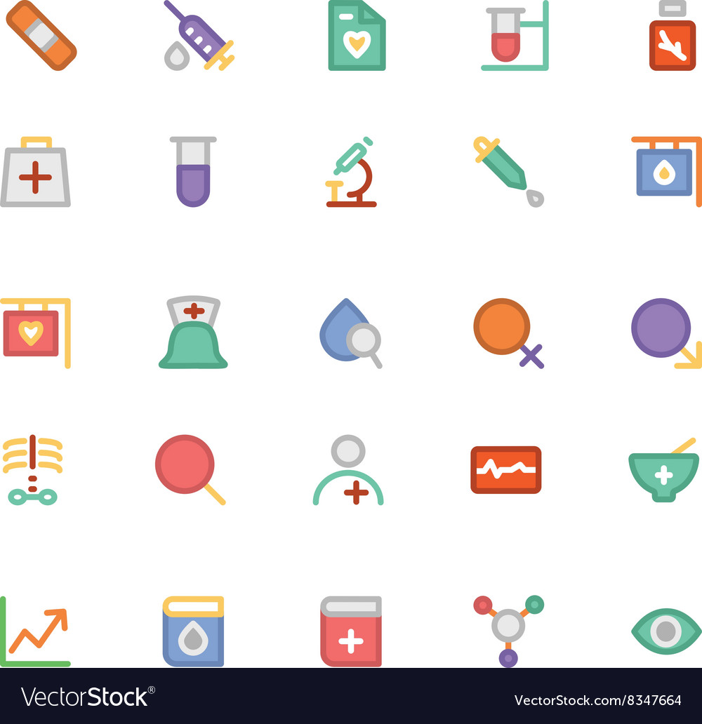 Medical colored icons 8 vector