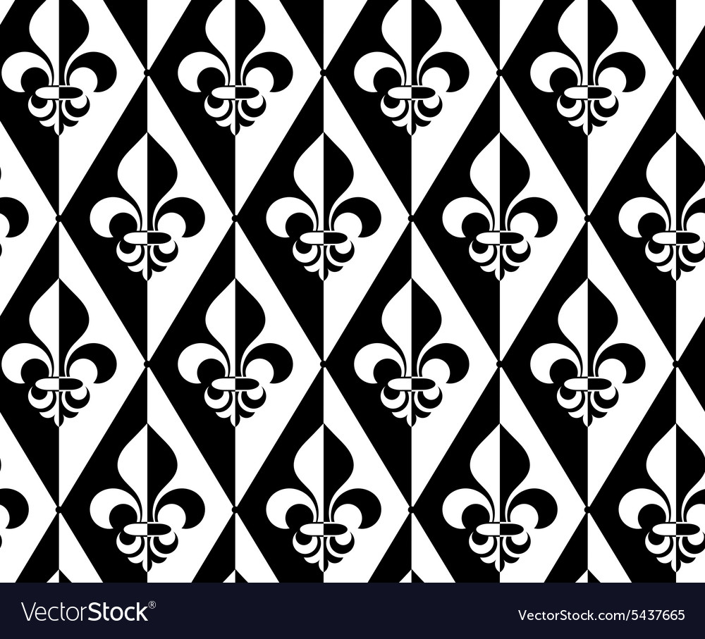 Black and white alternating fleurdelis half and vector